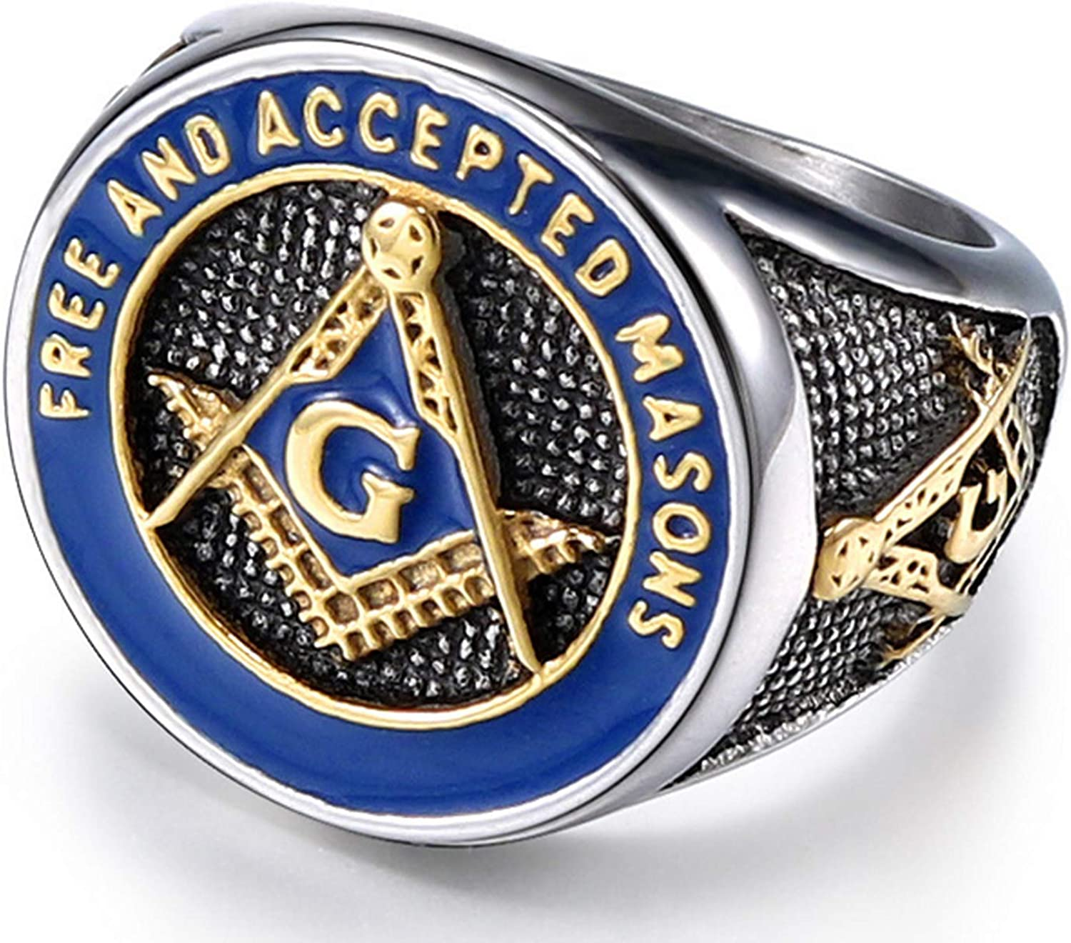 Tioneer Stainless Steel Freemasons Masonic Sacred Society Shield Biker Style Polished Ring