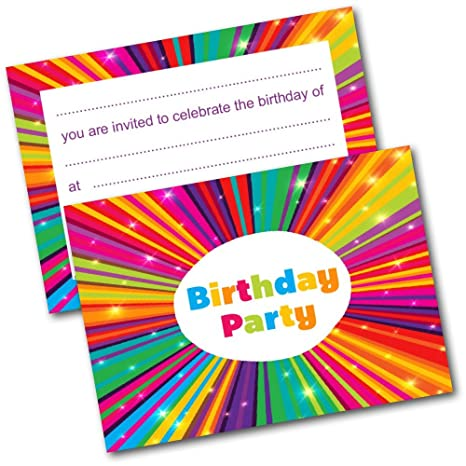 NEW Pack Of 20 Childrens Birthday Party Invitations With Envelopes Kids Invites Amazoncouk Toys Games