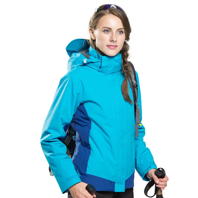 FLYGAGA Winterjacke Softshelljacke Wetterschutzjacke Funktionsjacke Damen 3 in 1 Wasserdichte Winddichte Atmungsaktive Fleece Outdoor Wander Jacke Regenjacke