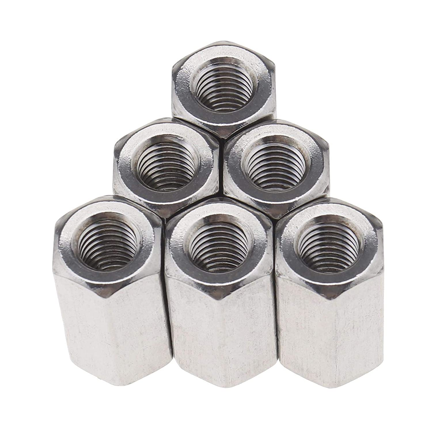 Thread Straight Extension Hexagon 304 Stainless Steel Hex Nut 10Pcs Studding Connector Set M10x17x30mm