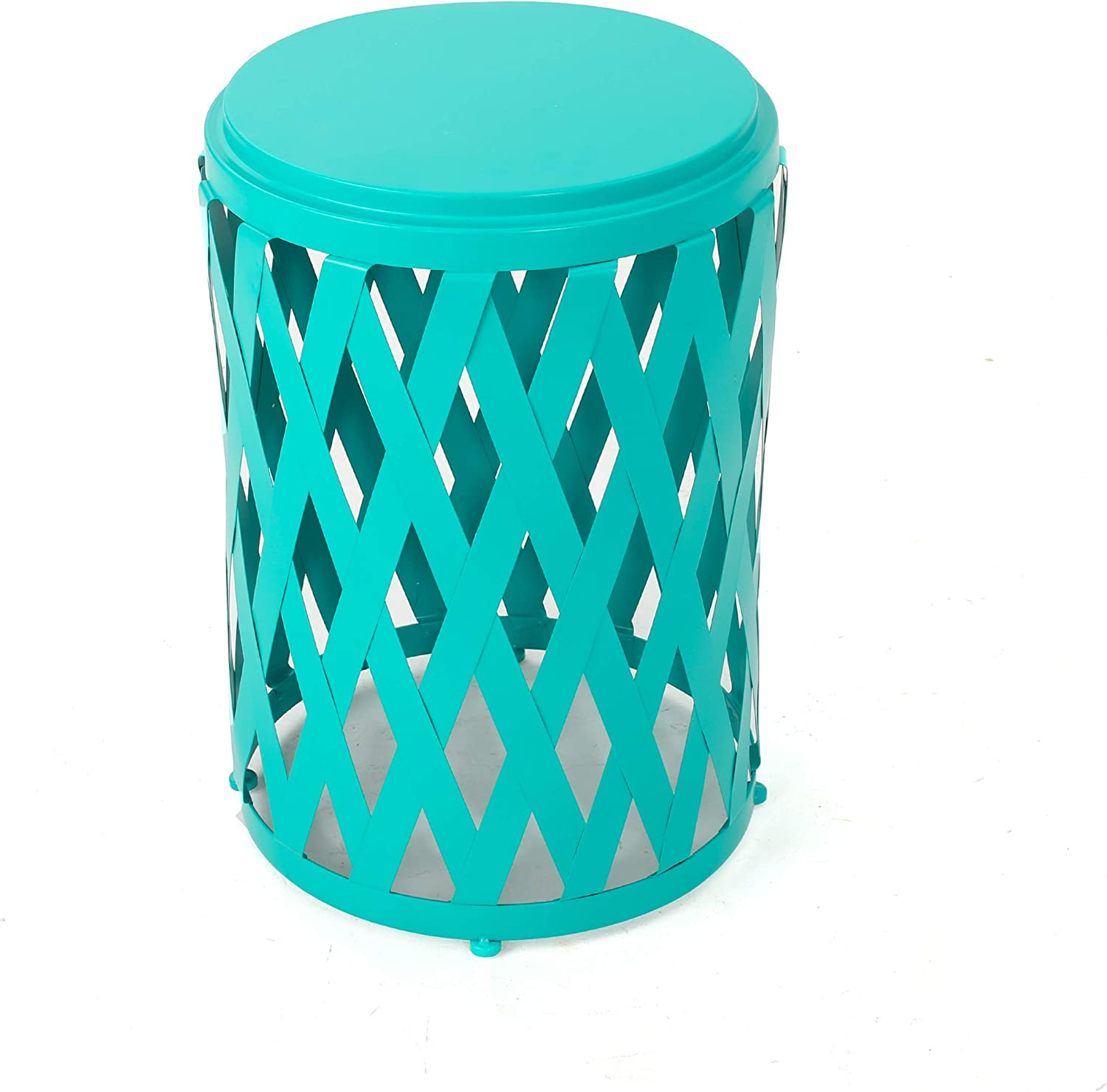 "Christopher Knight Home Selen Outdoor 14"" Diameter Iron Side Table, Matte Teal"