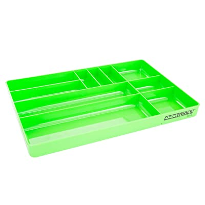 OEMTOOLS 22213 10-Compartment Low-Profile Drawer Organizer Tray | Organize Tools and Small Parts for Work, Transport, or in Your Tool Chest | High Impact ABS Construction | Green: Home Improvement