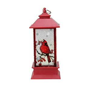 "5"" LED Lighted with Resting Cardinal Christmas Lantern"