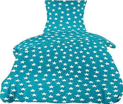 88633a0d60 MISTRAL Home Stars Flanell Bettwäsche Stern Sterne Türkis Weiß Baumwolle,  Größe:155x220cm Bettwäsche
