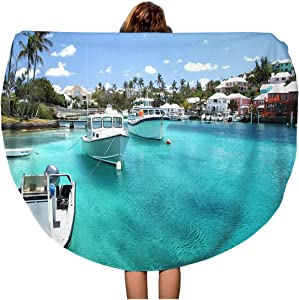 Pinbeam Beach Towel Yacht Boats on Blue Sea Water in Tropical Travel 60 inches Round Tapestry Beach Blanket