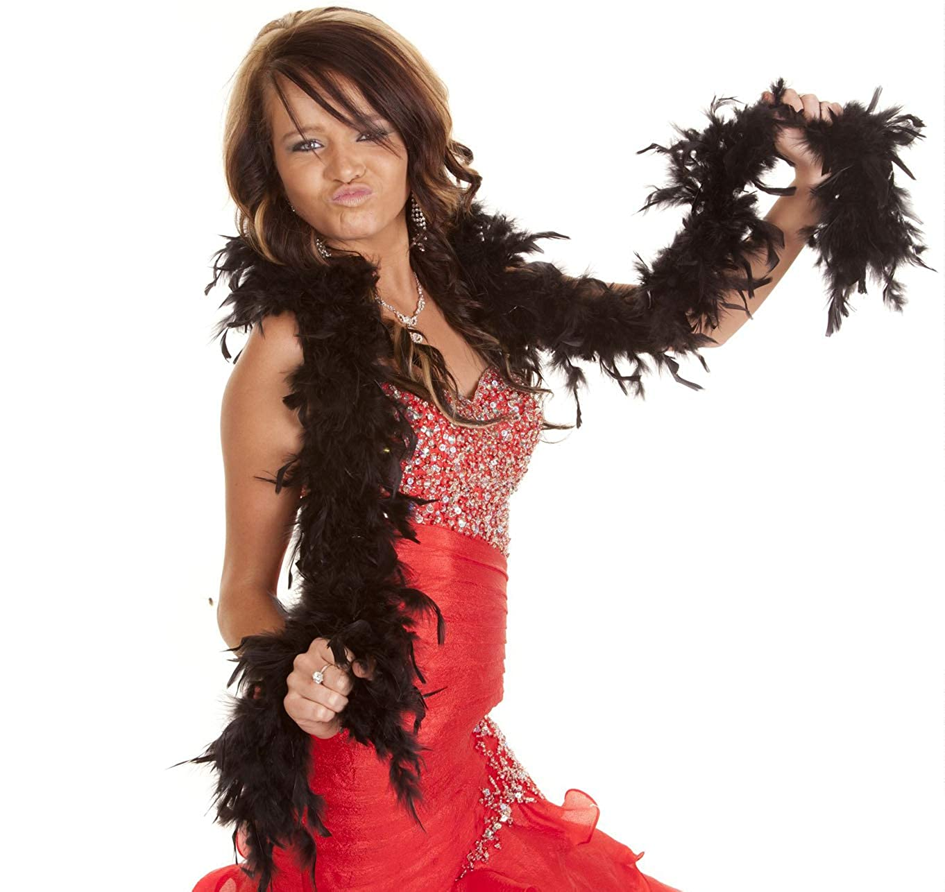GiftExpress 6/' Medium Weight Chandelle Feather Boa Hollywood Style Costume Accessory Vivid Solid Color