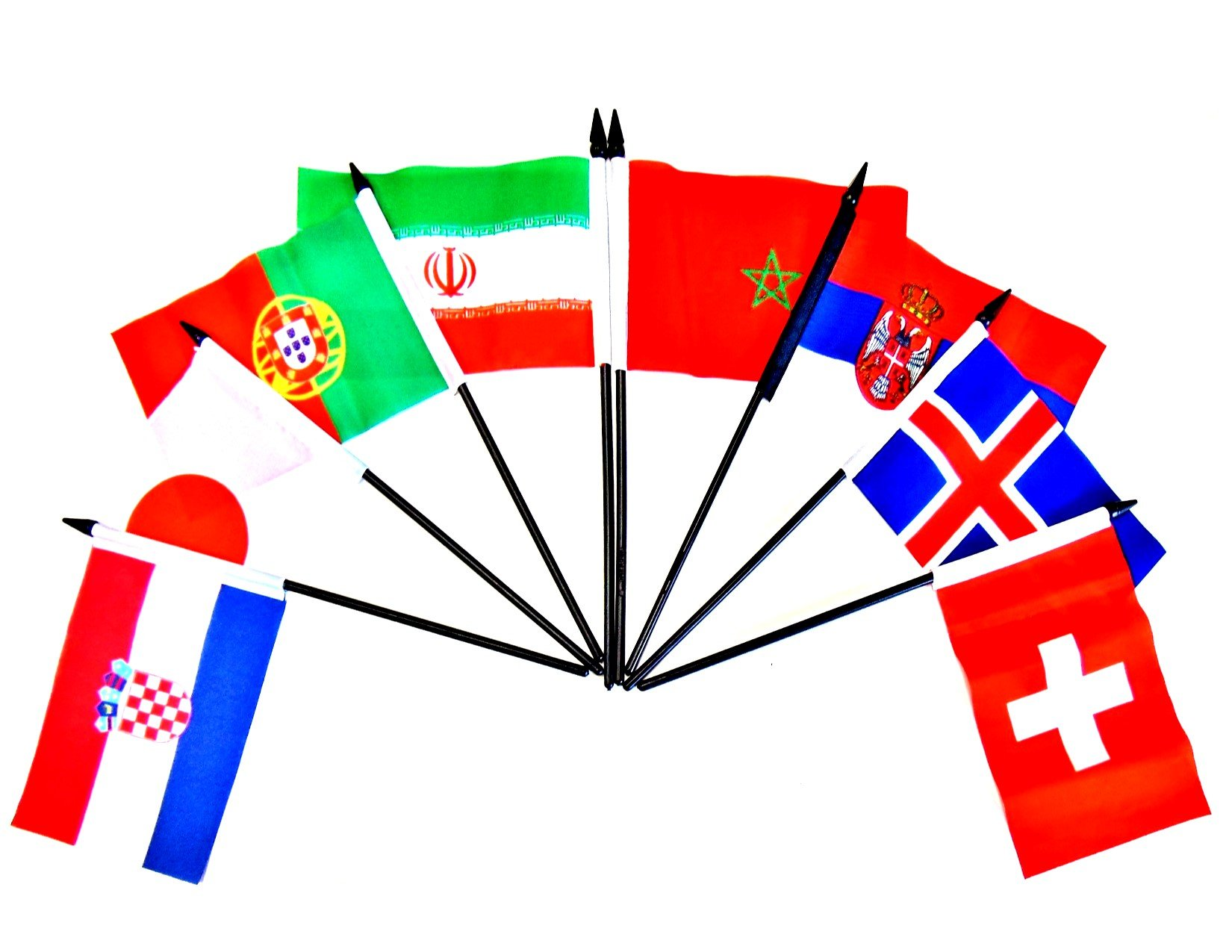 WORLD CUP 2018 SOCCER FLAGS 2018- SET of 32 Polyester 4''x6'' Flags, One Flag for Each Team Competing For the Cup, 4x6 Miniature Desk & Table Flags, Small Mini Stick Flags by World Flags Direct (Image #4)