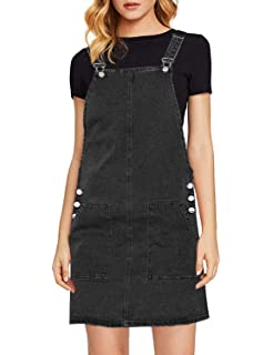 b0d3870776a luvamia Women s Casual Straps Denim Overall Pinafore Dress with Pocket
