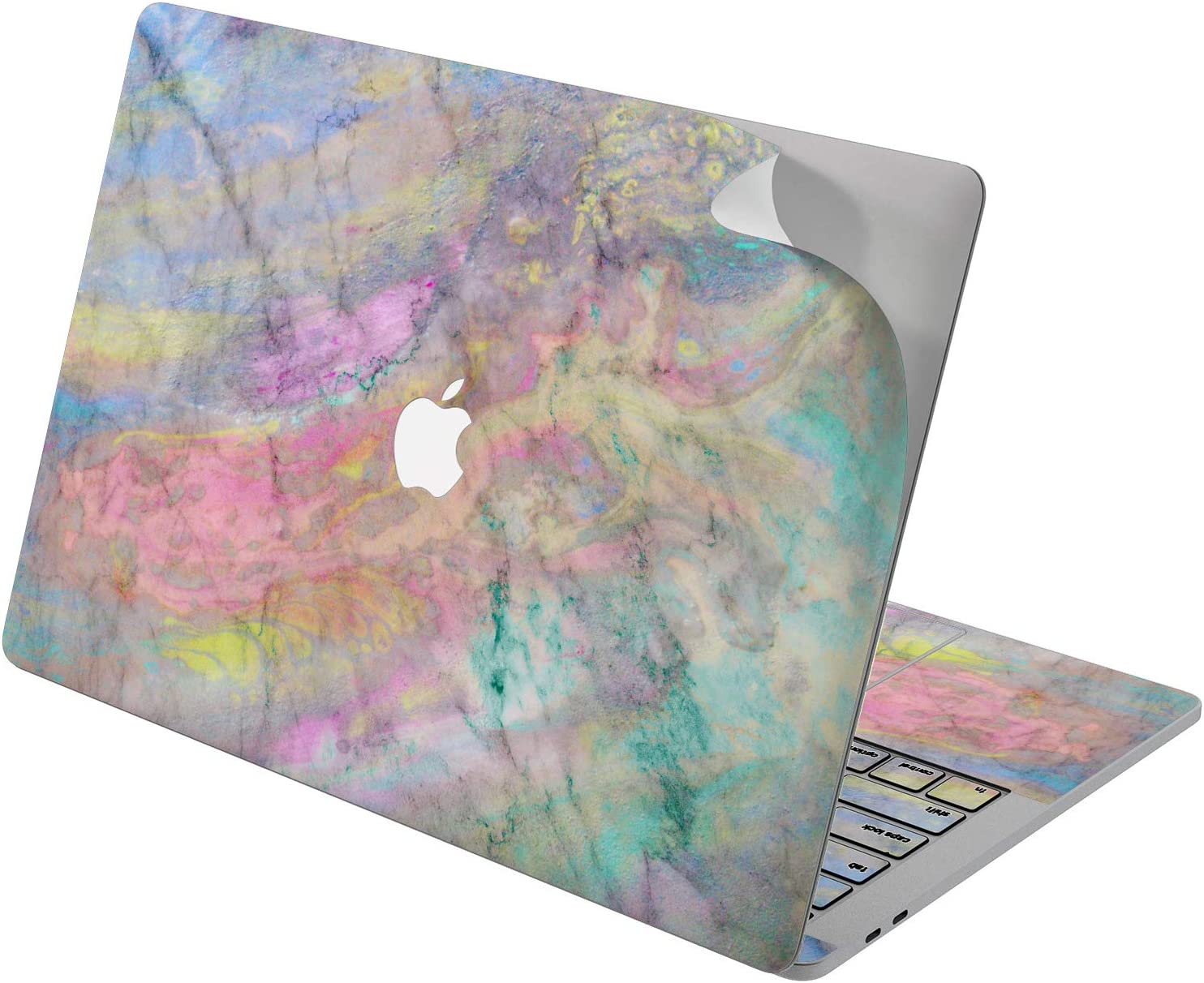 """Cavka Vinyl Decal Skin for Apple MacBook Pro 13"""" 2019 15"""" 2018 Air 13"""" 2020 Retina 2015 Mac 11"""" Mac 12"""" Marble Painted Texture Tender Cover Laptop Sticker Pink Pretty Print Protective Design Colorful"""