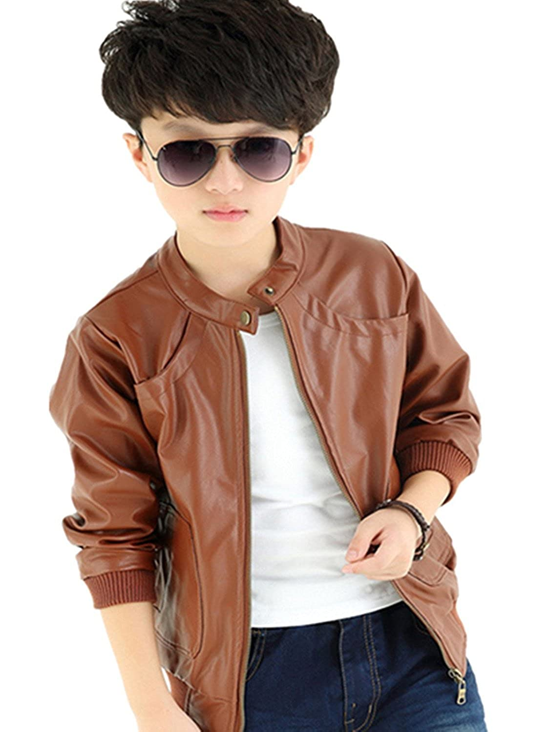 FOUNDO Boy's Trendy Stand-Collar PU Leather Jacket Moto Jacket Coat (2T-12T)