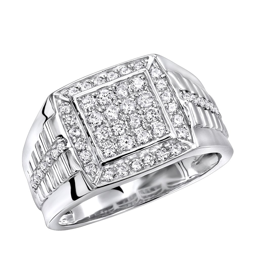 Mens Pinky Rings Diamond Band 10k Gold Square Shape 1ctw (White Gold, Size 12)
