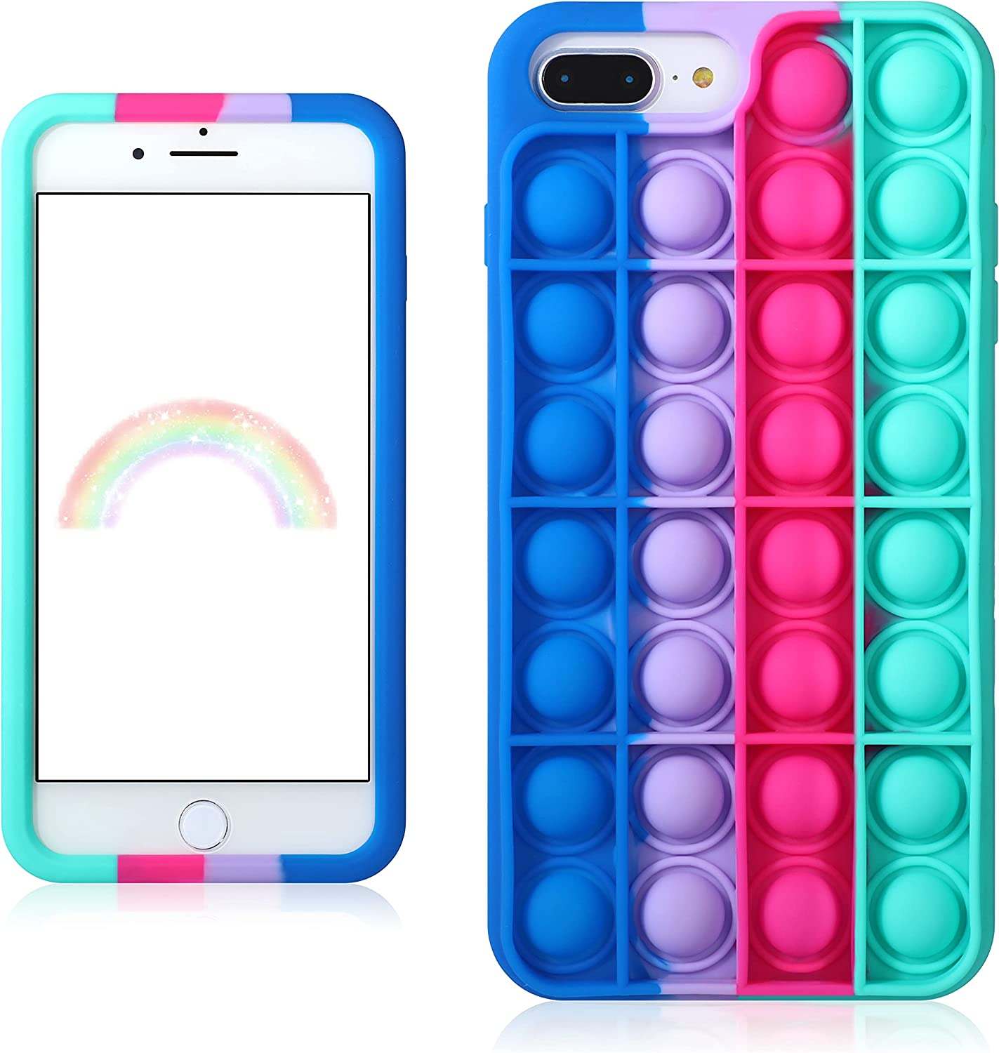 Trendy Fun for iPhone 6/6S/7/8 Plus Case,Silicone Aesthetic Cartoon Funny Cute Aesthetic Stylish Unique Designer Fun Cover Cases for Boys Girls Women Men Blue Rose Pop-for iPhone 6/6S/7/8 Plus 5.5