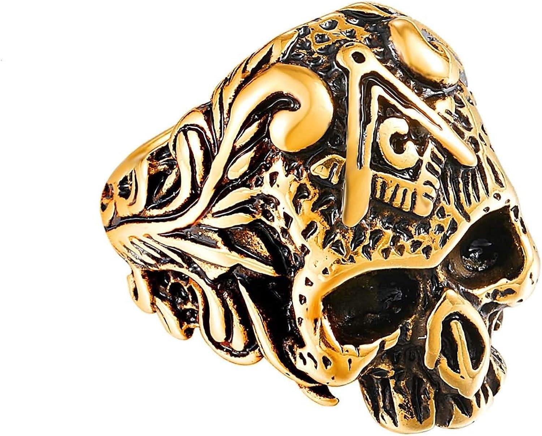 AnazoZ Anillo Calavera Hombre Acero Inoxidable Anillo de Hombre Calavera con Masonría Oro Anillos para Hombre Talla 17-27