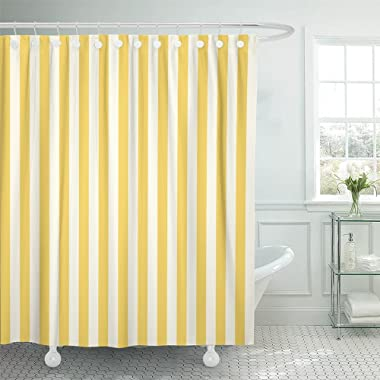 Emvency Shower Curtain Waterproof White Stripe Striped Stamp Yellow Sleepwear Apparel and Other Products Vertical Polyester Fabric 72 x 72 Inches Set with Hooks
