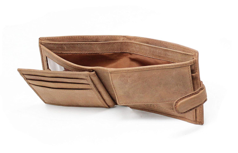 STARHIDE Mens RFID Blocking Distressed Hunter Leather Trifold Coin Pocket Wallet 1212 Brown