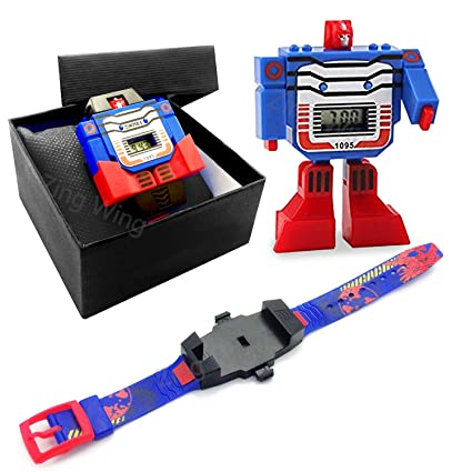 Transforming Toys Kids Boys Digital Watch WristwatchBlue Robot Gifts For Holiday