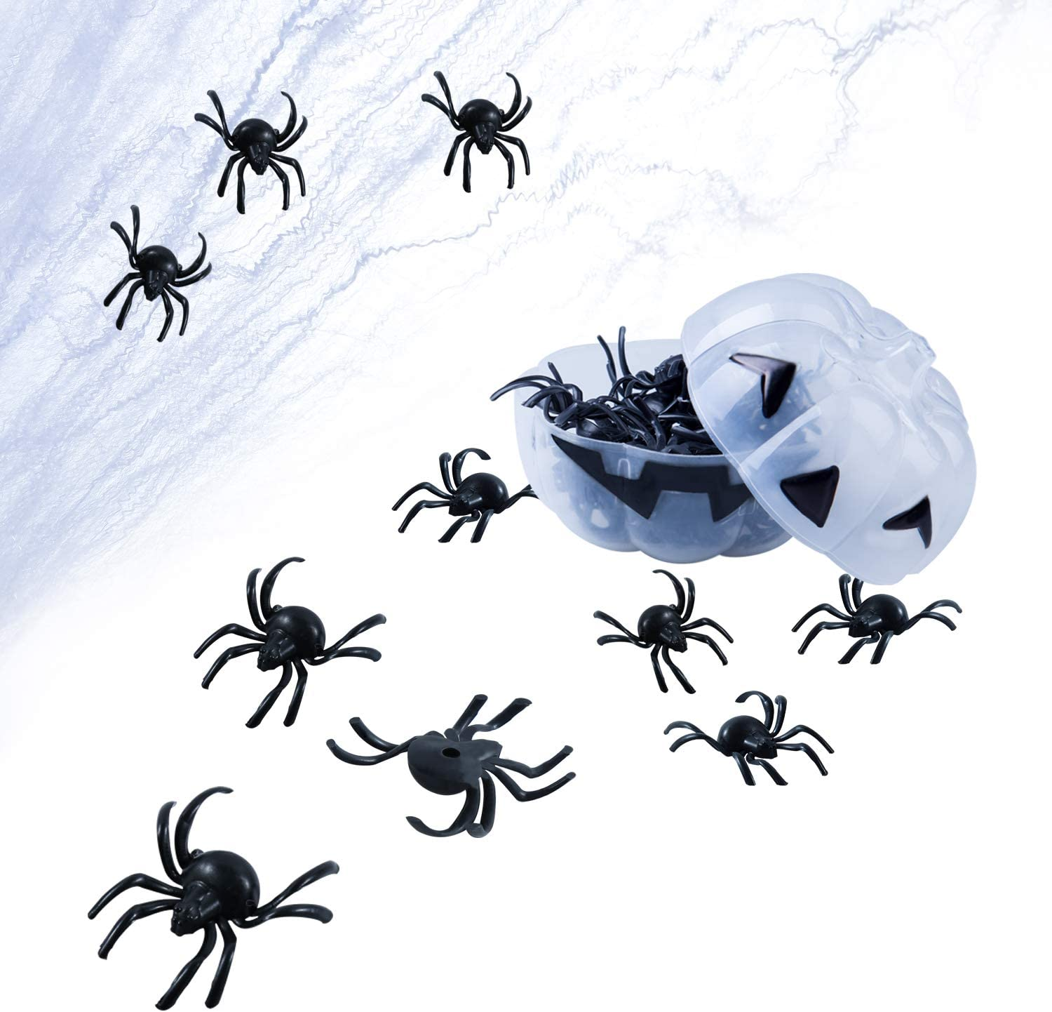 YUNGCHI 60 Halloween Plastic Spiders, Halloween Fake Spiders, Nightmare Before Christmas Halloween Decorations, Pumpkin Box,Set of 60