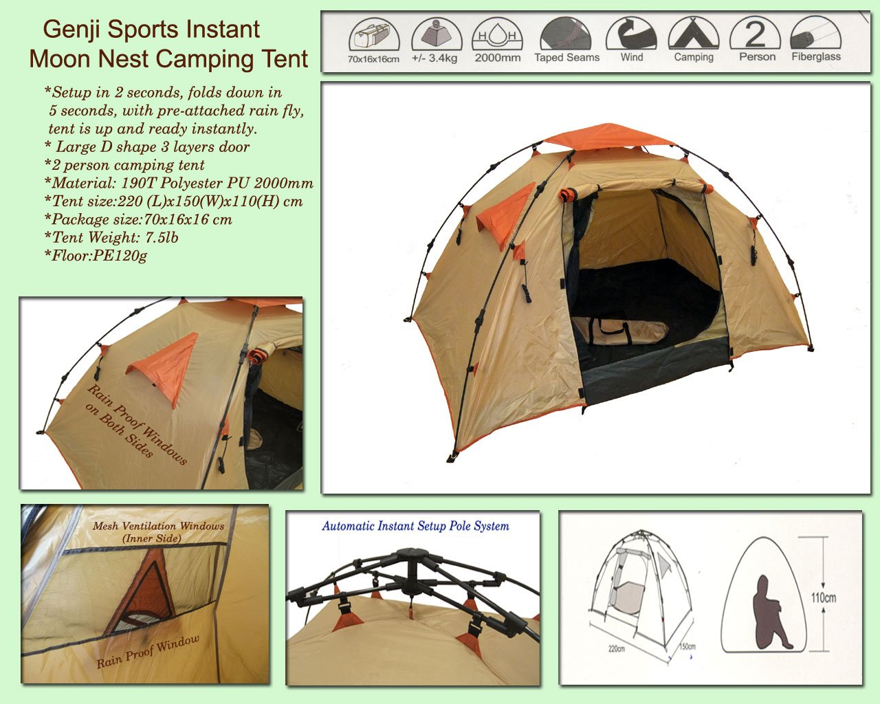Amazon.com  Genji Sports Instant C&ing Tent  Backpacking Tents  Sports u0026 Outdoors  sc 1 st  Amazon.com & Amazon.com : Genji Sports Instant Camping Tent : Backpacking Tents ...
