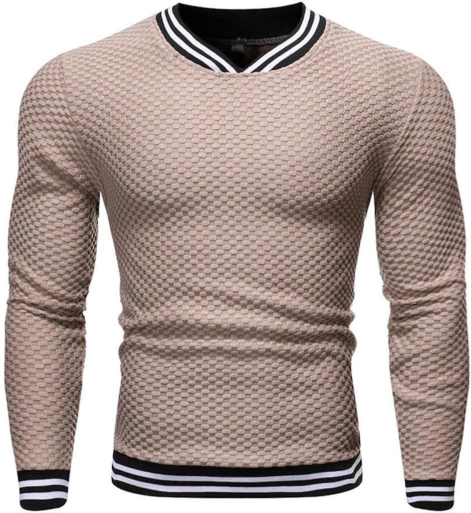 Blusa de Hombre Camisetas Color sólido Camisas de Manga Larga con Cuello en V de Raya Punto Top Jersey,para Negocios,Caballero,Esencial Arriba: Amazon.es: Ropa y accesorios