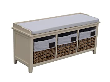 Excellent Storage Bench Seat Cream Hallway 3 Drawer Wicker Basket Solid Wood 107Cm Long Onthecornerstone Fun Painted Chair Ideas Images Onthecornerstoneorg