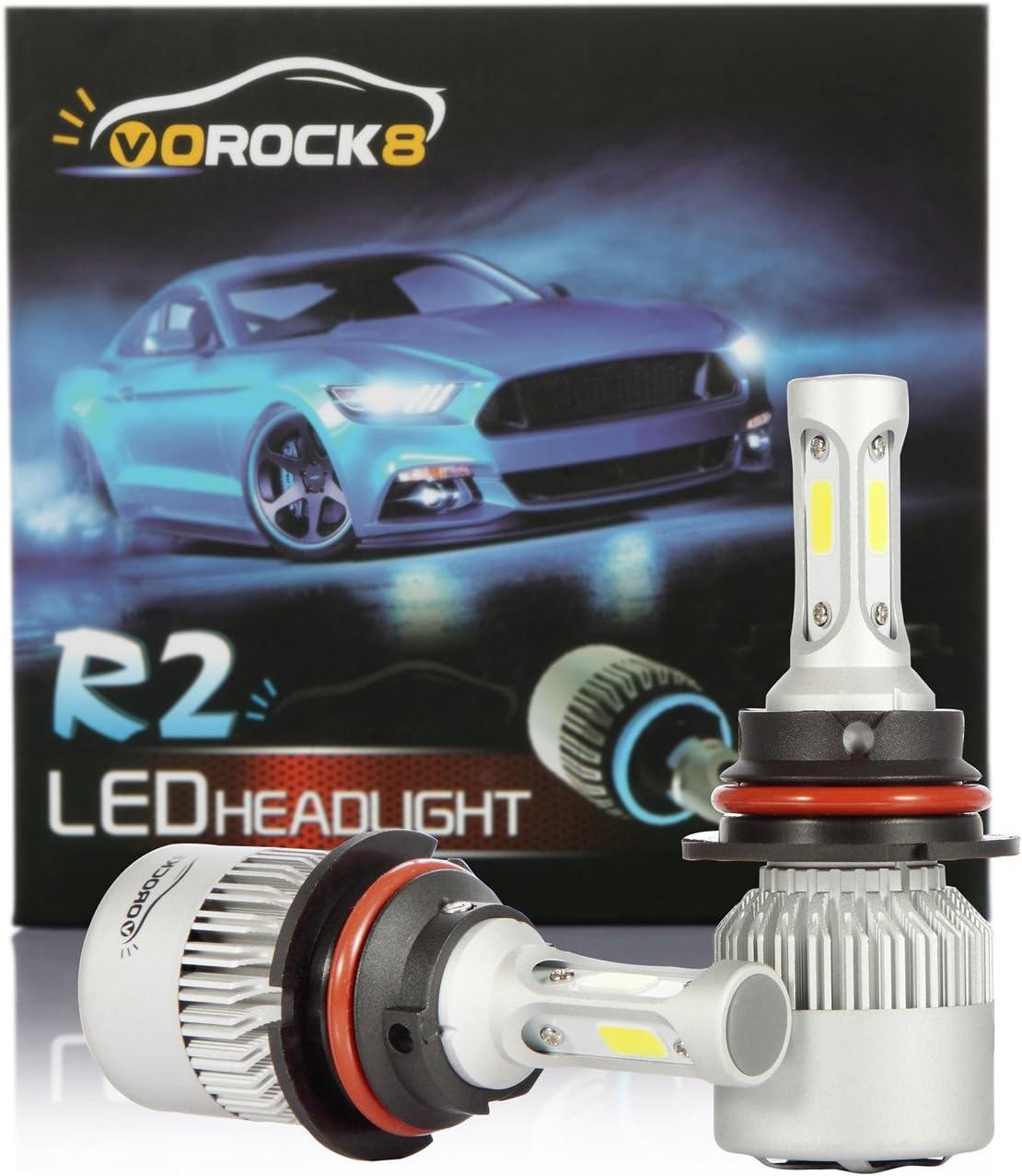 VoRock8 R2 COB 9007 HB5 8000 Lumens Led Headlight Conversion Kit, High Low Beam Headlamp, Dual Beam Head Light, Halogen Head Light Replacement, 6500K Xenon White, 1 Pair