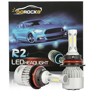 VoRock8 R2 COB 9004 HB1 8000LM LED Headlight Conversion Kit, Hi/Lo Beam headlamp, Dual Beam Head Light, Halogen Head Light Replacement, 6500K Xenon White, 1 Pair- 1 Year Warranty