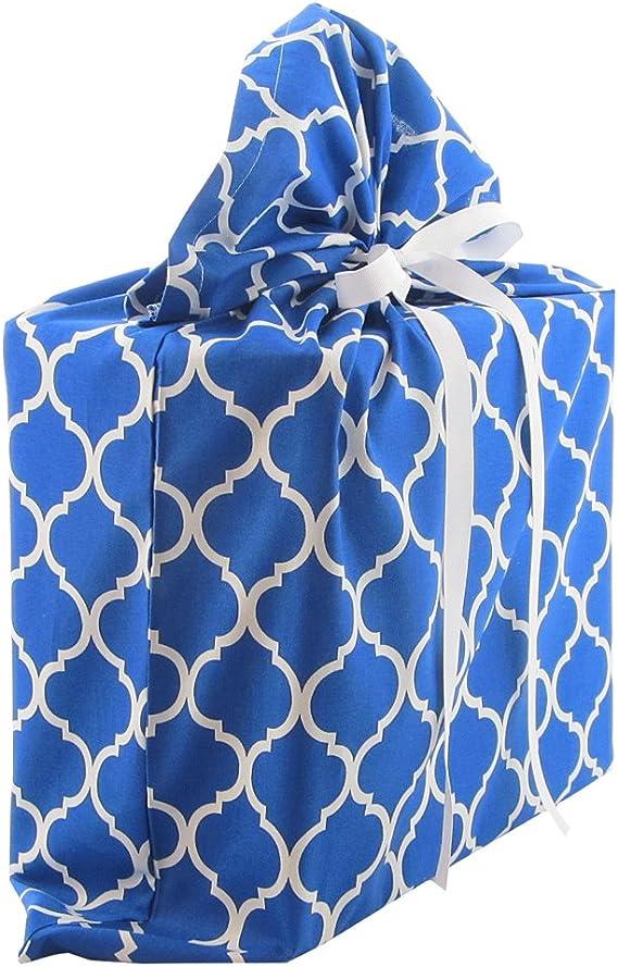 Amazon.com: Royal azul y blanco Quatrefoil tela de ...