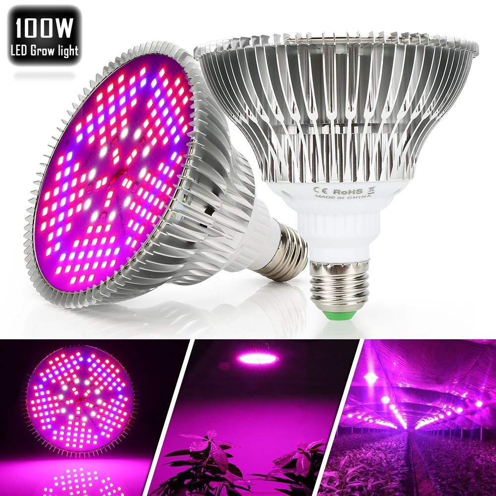 100W Led Plant Grow Light Bulb, Full Spectrum 150 LEDs Indoor Plants Growing Light Bulb Lamp for Vegetables Greenhouse and Hydroponic, E27 Base grow light Bulbs, AC 85~265V [2Pack] by EnerEco (Image #5)