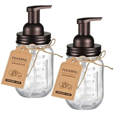 Amolliar Mason Jar Foaming Soap Dispenser - Rustproof Stainless Steel Lid/BPA Free Foam Pump,with Chalkboard Labels - Rustic Farmhouse Decor Hand Soap Dispenser Bathroom Accessories – Bronze (2 Pack)