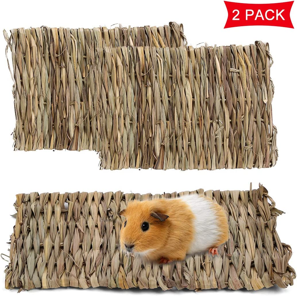 Mojonnie Grass Mat for Rabbits, Natural Handmade Woven Grass Mat, Pet Hay Mat for Pigeon Dove Parakeet Parrot Cockatiel Finch Bunny Guinea Pig Gerbil Chinchilla Chipmunk Squirrel
