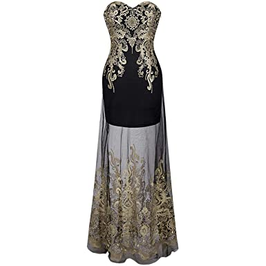 Nikifly Vintage 1920S Strapless Embroidery See Through Lace up Vestidos De Noche Black Long Evening Dress