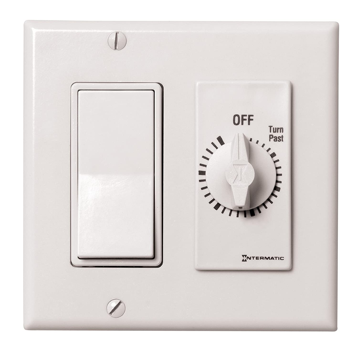 Intermatic FD60MWC 60-Minute Spring-Wound In-Wall Countdown Timer Switch for Auto-Off control of Fans and Lights White