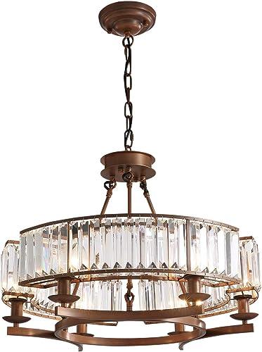 Siljoy Luxury Round Crystal Chandelier Modern LED Dimmable 6-Lights Pendant Lighting Vintage Flush Mount Ceiling Fixture