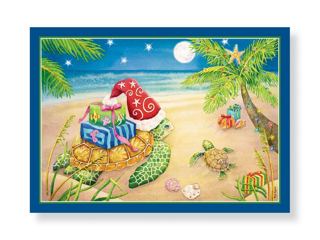 16 Christmas Cards and Envelopes, Sea Turtles with Gifts on the Beach Santa Hat Palm Trees Tropical