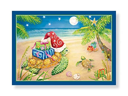 16 christmas cards and envelopes sea turtles with presents