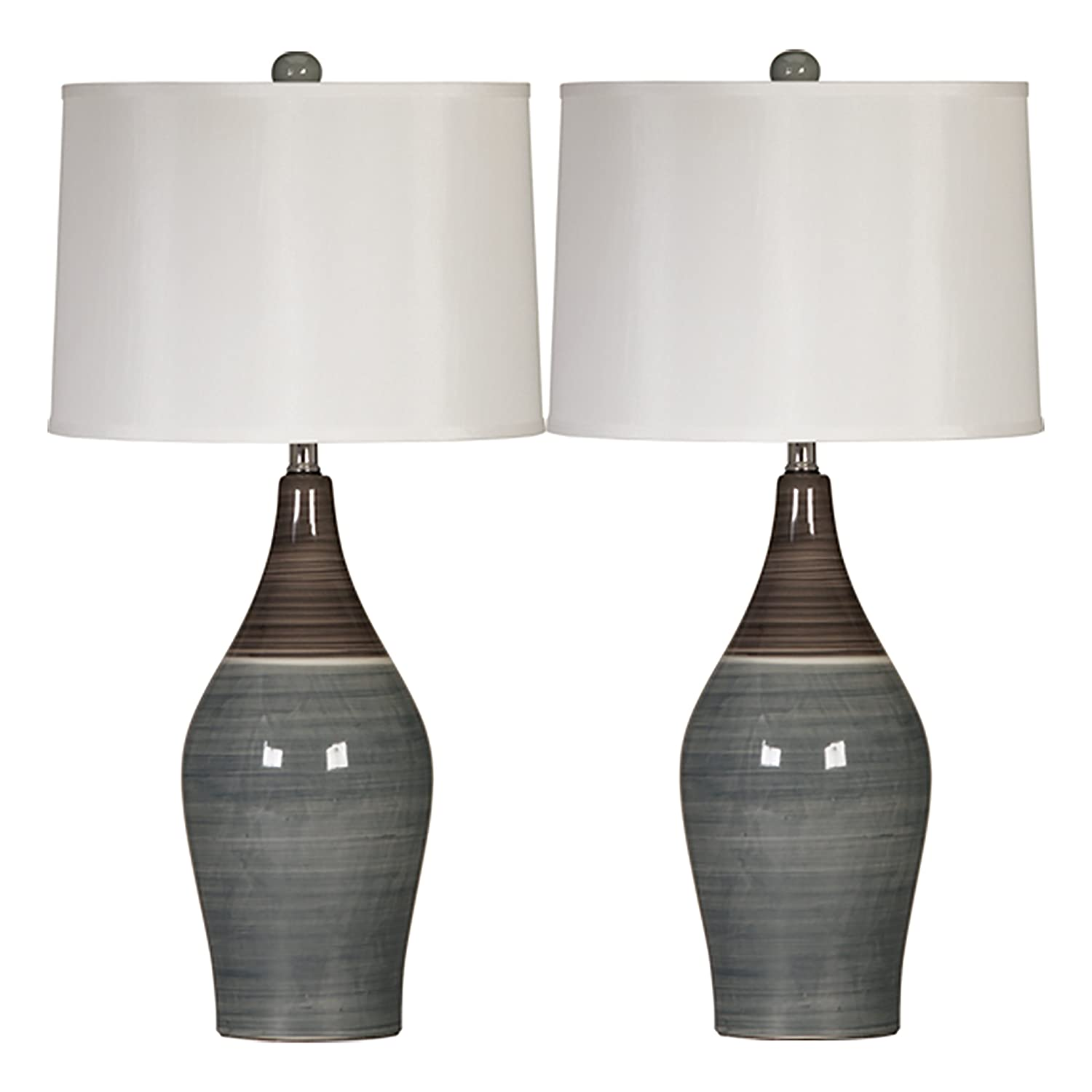Ashley Furniture Signature Design - Niobe Ceramic Table Lamp - Set of 2 - Multicolored/Gray L123884