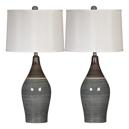 Signature Design by Ashley – Niobe Ceramic Table Lamp – Set of 2 – Multicolored Gray
