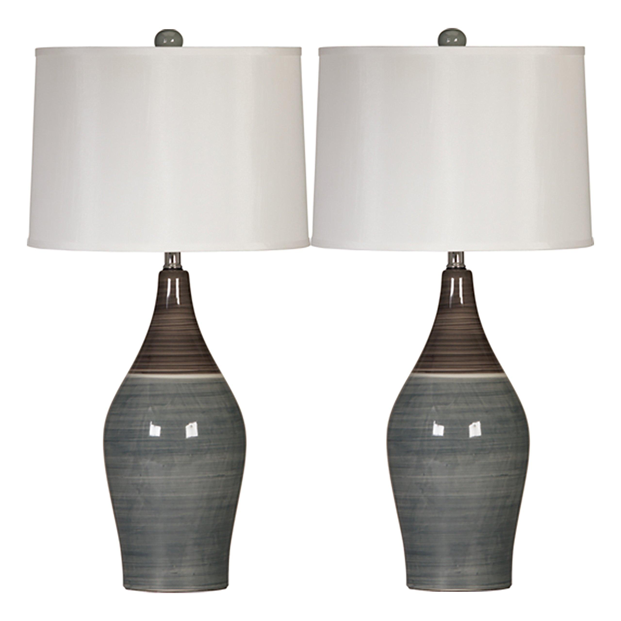 Ashley Furniture Signature Design -  Niobe Ceramic Table Lamp - Set of 2 - Multicolored/Gray by Signature Design by Ashley (Image #1)