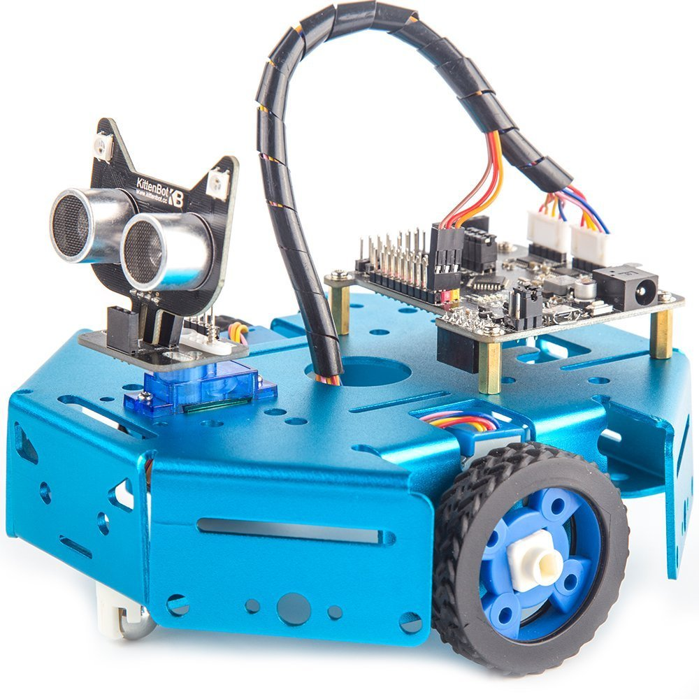KittenBot Basic Robot Kit - STEM Education - Arduino - Scratch 3.0 - Compatible with Raspberry Pi - Support Python Program - Programmable Robot Kit to Learn Coding, Robotics and Electronics (Blue) by KittenBot