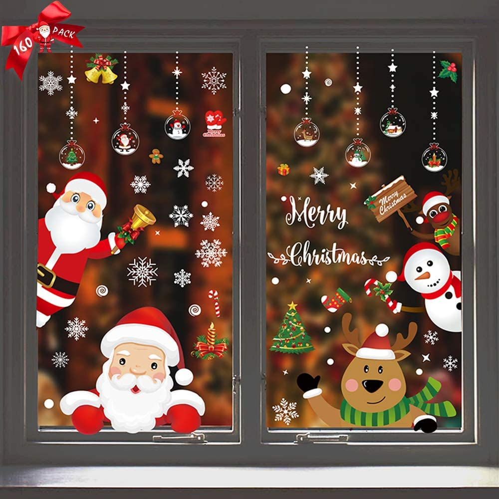 Christmas Window Stickers Clings,160Pcs Double-Side Removable Christmas Window Decal Stickers for Christmas Decorations Window Decorations Ornaments Party Supplies Refrigerator Decor