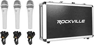 Rockville 3-Pack Metal Wired Vocal/Instrument/DJ Microphones (TC PRO Triple White)