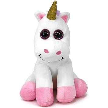 com-four Unicornio Peluche con Ojos Brillantes, Peluche Sentado, 25 cm (01