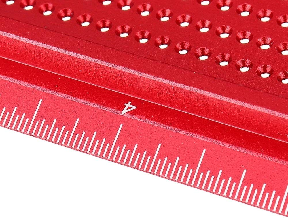 Marking Tools Aluminum Alloy Hole Precision Marking T Ruler Hole Positioning Measuring Ruler Woodworking Scriber Scribing Tool TS 8 Inch Woodworking Tools (Color : Blue) Red