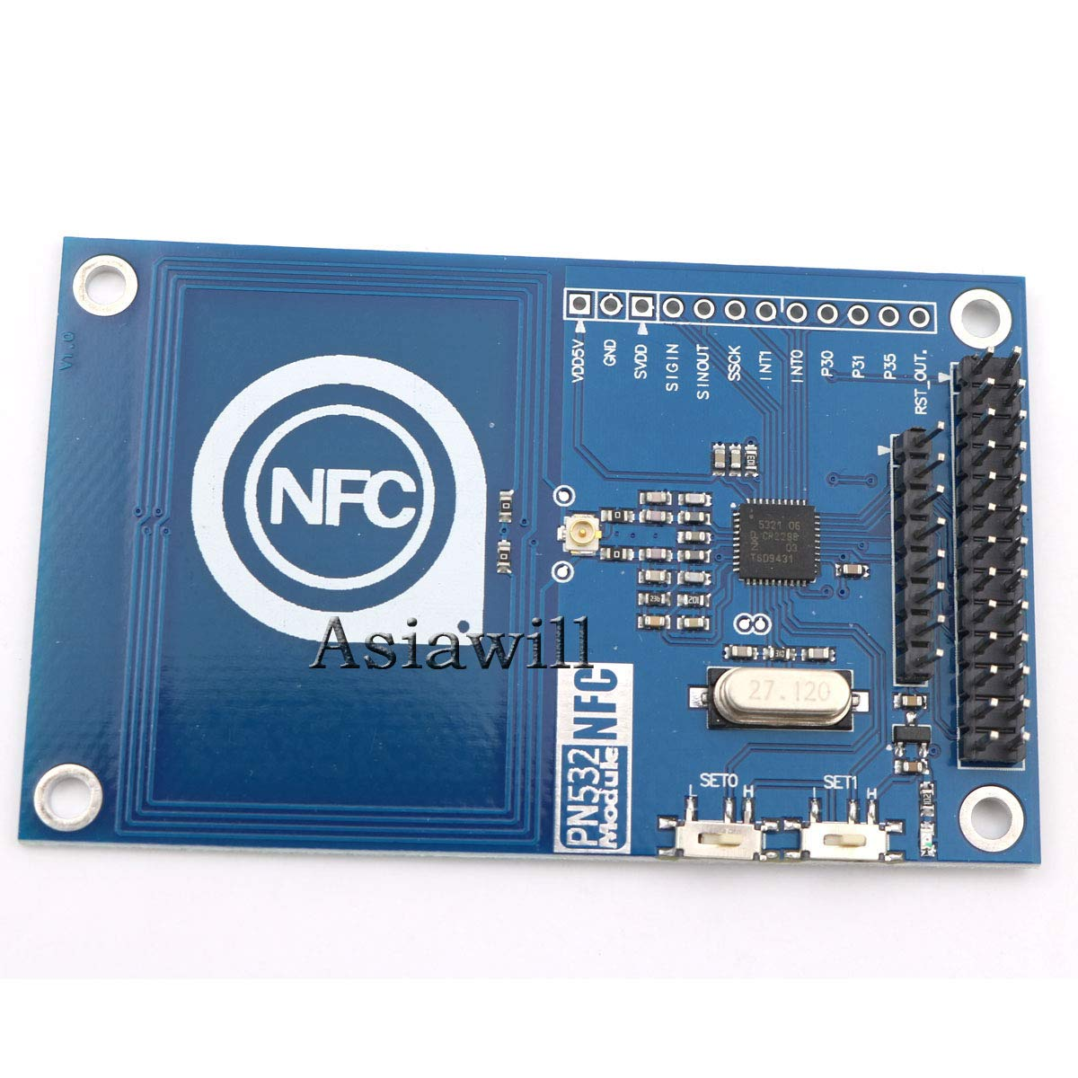 Asiawill 13 56MHz PN532 On-board Antenna NFC/RFID Module with Smart Card  for Arduino/Compatible with Raspberry Pi