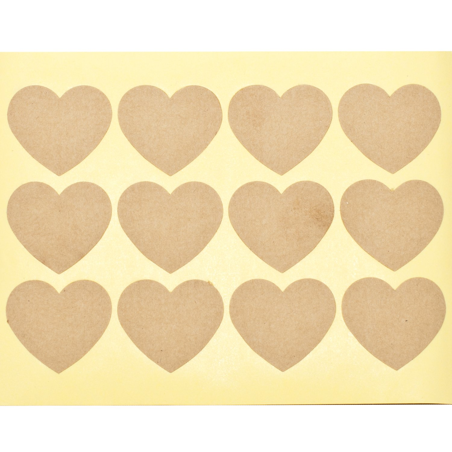 60 x Plain Kraft Heart Stickers Blank DIY Sticky Labels Pop-Tart