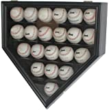 Solid Wood 21 Baseball Display Case Wall Cabinet Holder Shadow Box, w/UV Protection, Lockable