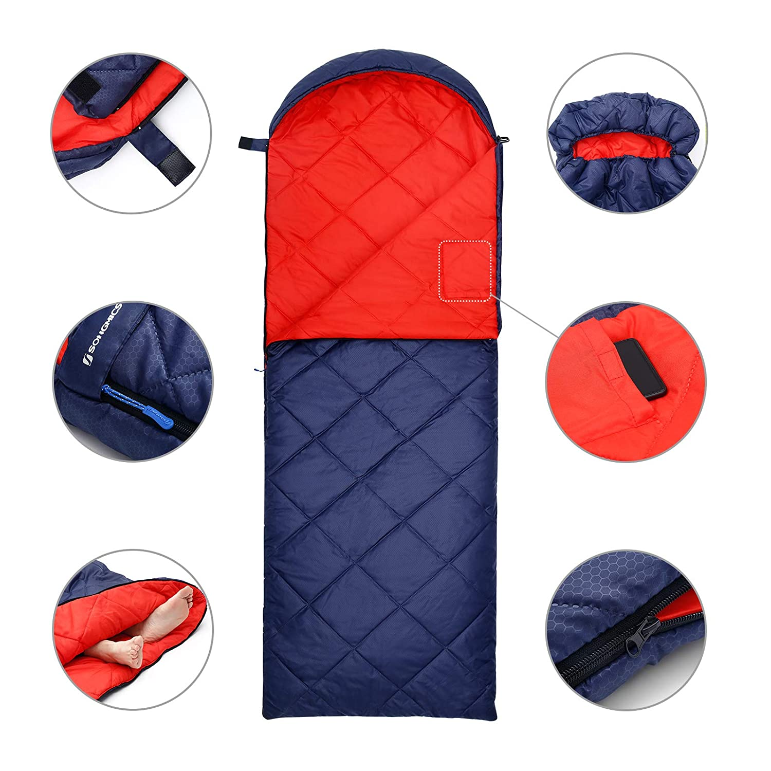 SONGMICS Camping Sleeping Bag with Compression Sack Compact Lightweight Easy to Carry Ultrasonic Stitch Comfort Temp 5-15/°C Camping 4 Seasons Dark Blue GSB20QR Hiking