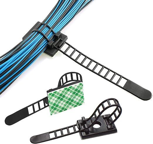 25 Verstellbare Kabelhalter + 25 Kabel Clips wei/ß 50 St/ück Kabel-Clips von AGPTEK Kabelklemme Set Management Kabelbefestigung Drahthalter mit Klebstoff Gesicherte Unterlage,