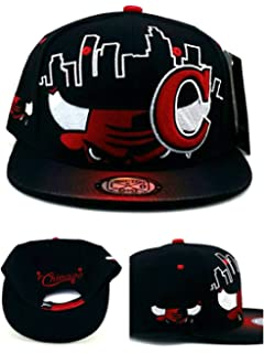 61f417ee80a800 Chicago New Leader Youth Kids Bull Head Skyline Bulls Colors Black Red Era  Snapback Hat Cap