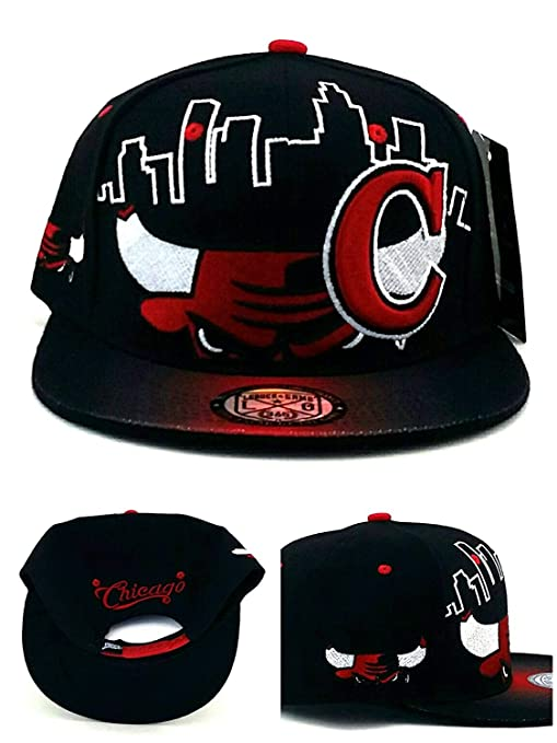b89aa9090 Chicago New Leader Youth Kids Bull Head City Skyline Bull Head Black Red  Era Snapback Hat Cap 19in to 21in Head Size
